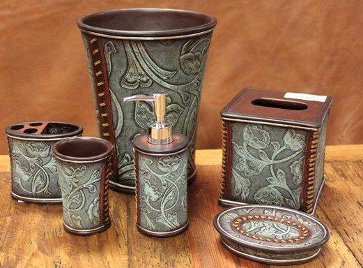 Rustic Bathroom Accessories Decor Tooled Leather Look Choose