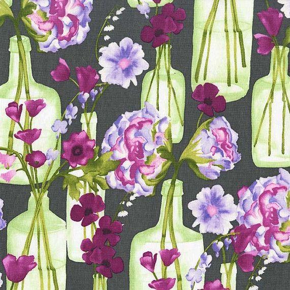 SALE $7/yd Michael Miller Vignette Posie Bouquet Charcoal CJ6662-CHAR-D Modern Floral