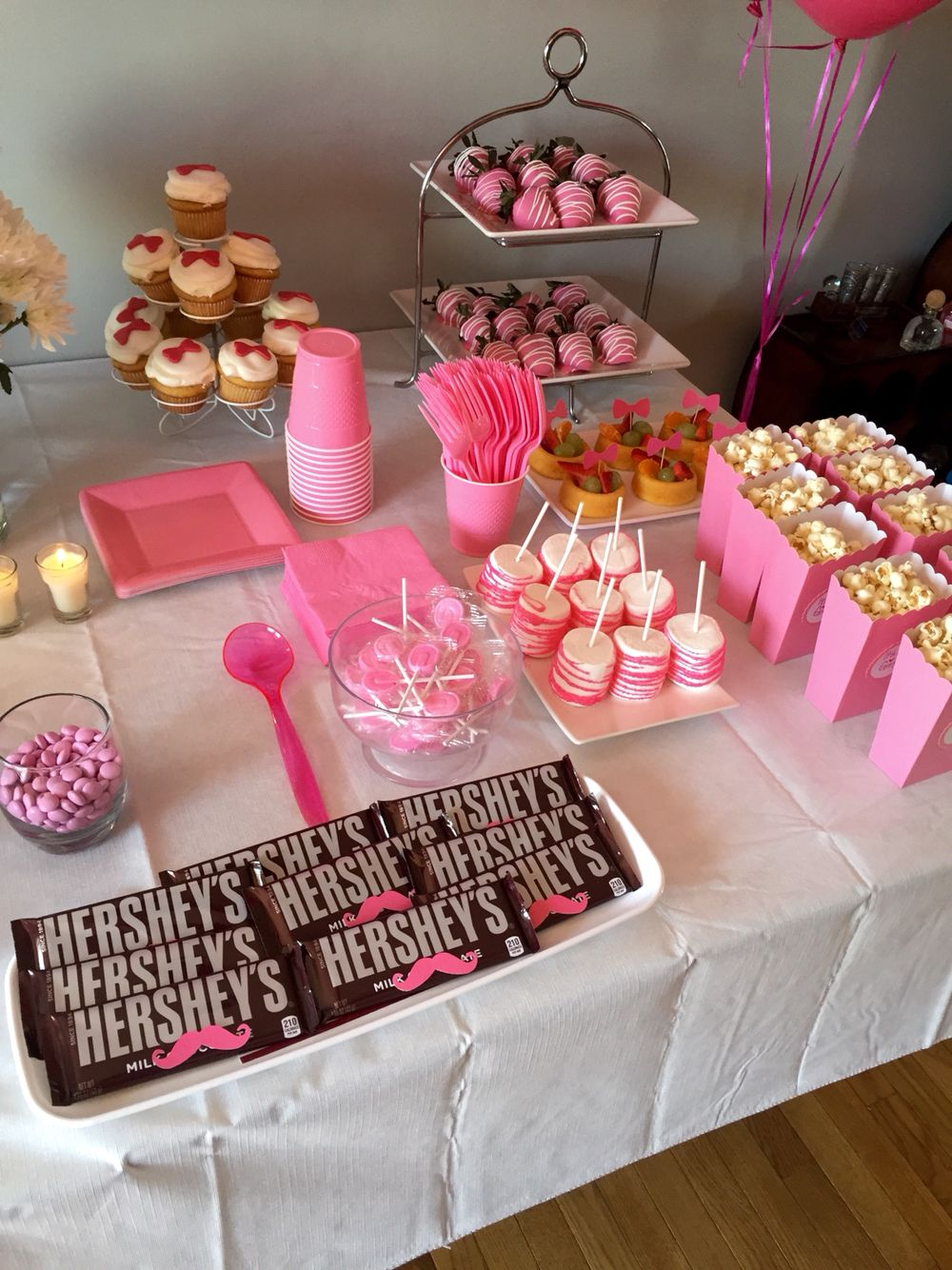 Girls Side Of The Snack Table Gender Reveal Boy Or Girl Pink Baby Shower  Bows Mustaches