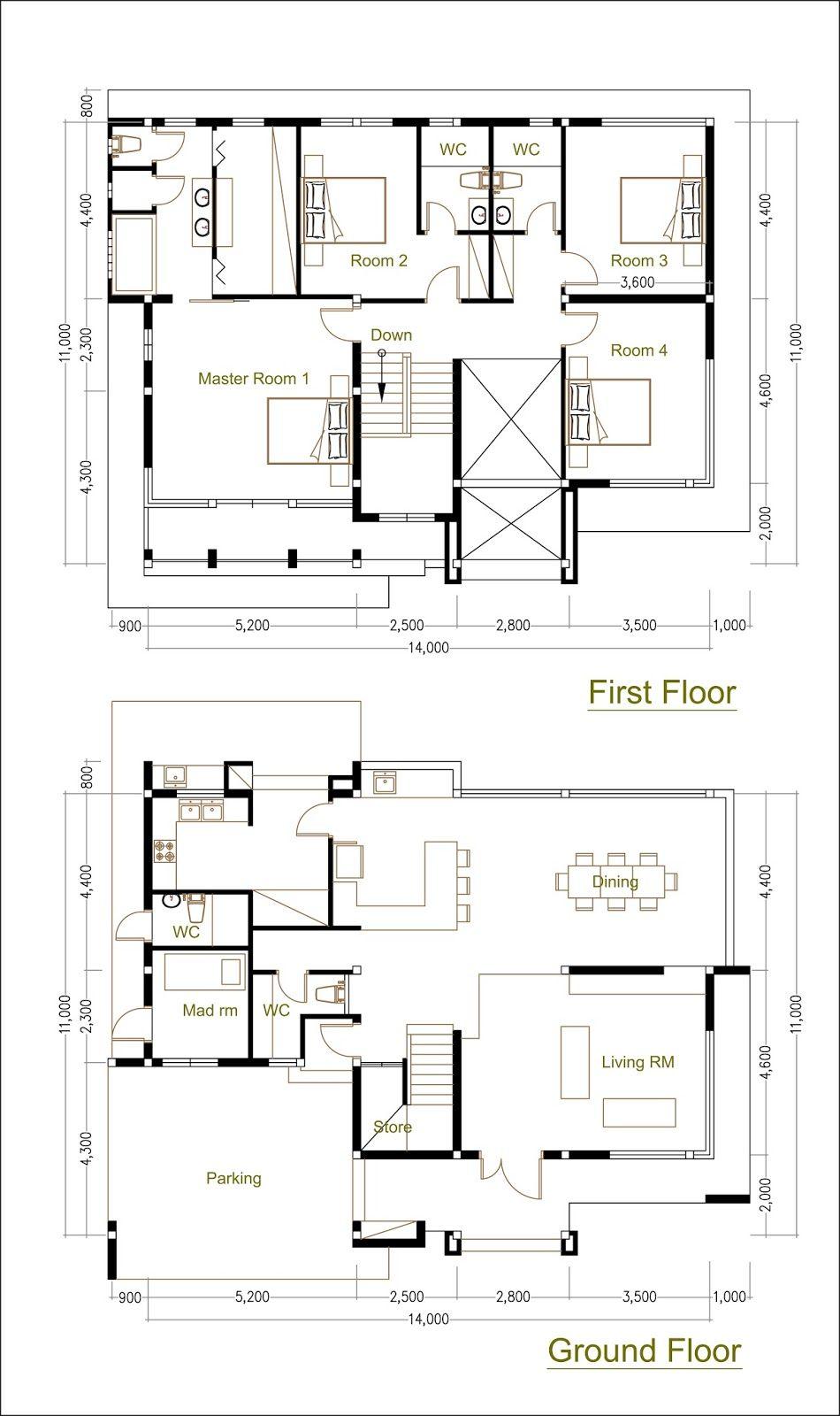 4 Bedrooms Home Design Plan Size 14x11m Samphoas Plan Home Design Plan Home Design Floor Plans How To Plan