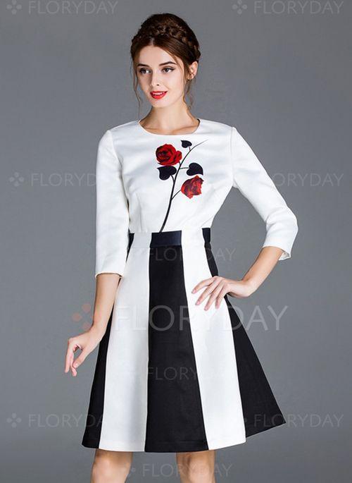 Kleider - $112.97 - Polyester Farbquadrat 3/4 Ärmel Über dem Knie Elegant Kleider (1955103929)