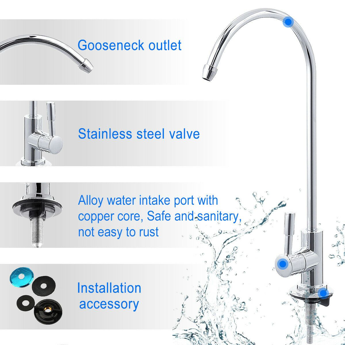 Bathroom Kitchen Faucet Water Tap Modern Style Chrome Non
