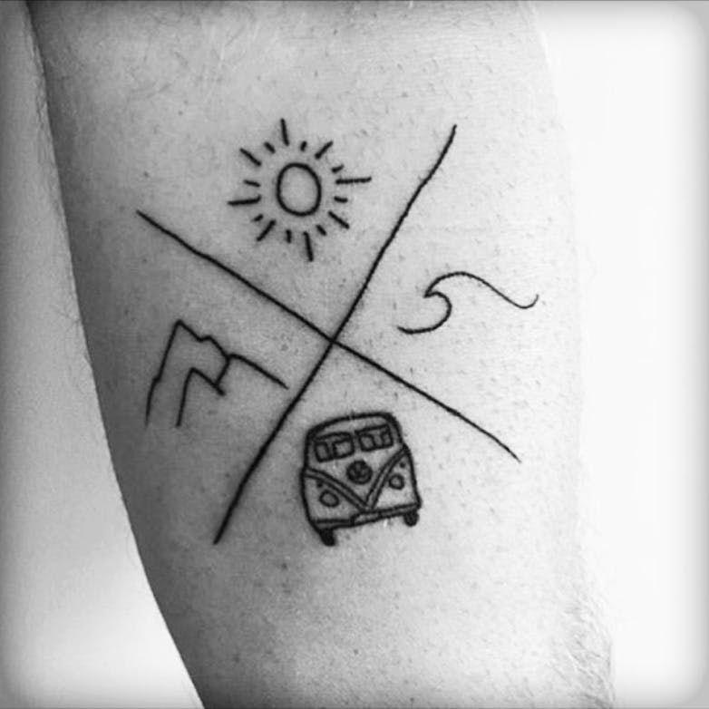 Wanderlust Bulli Wave Mountain Sun Tattoo Inked Blackwork Earthy
