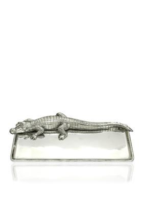 Arthur Court Silver Alligator 9-in.x 20-in. Tray - Online Only
