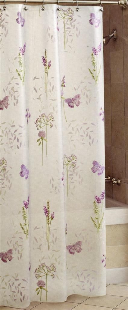 Image of: Purple And Green Shower Curtains With Shower Curtain Abundance Purple Green White Butterflys On Opaque Peva 70 72 Ebay