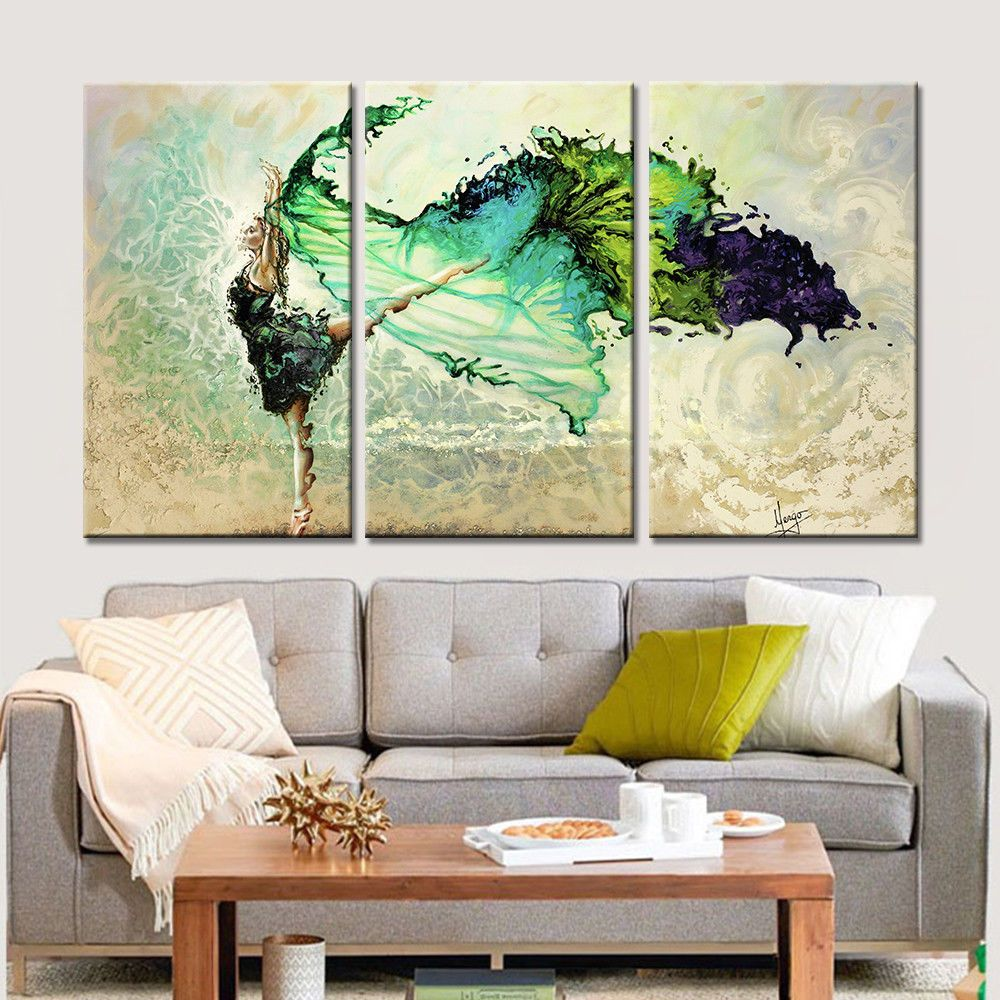 Wall Art 3pcs Canvas Painting Home Decor Painting Dancing Girl Frameless Flower Painting Canvas Home Decor Paintings Wall Art Painting #nice #paintings #for #living #room