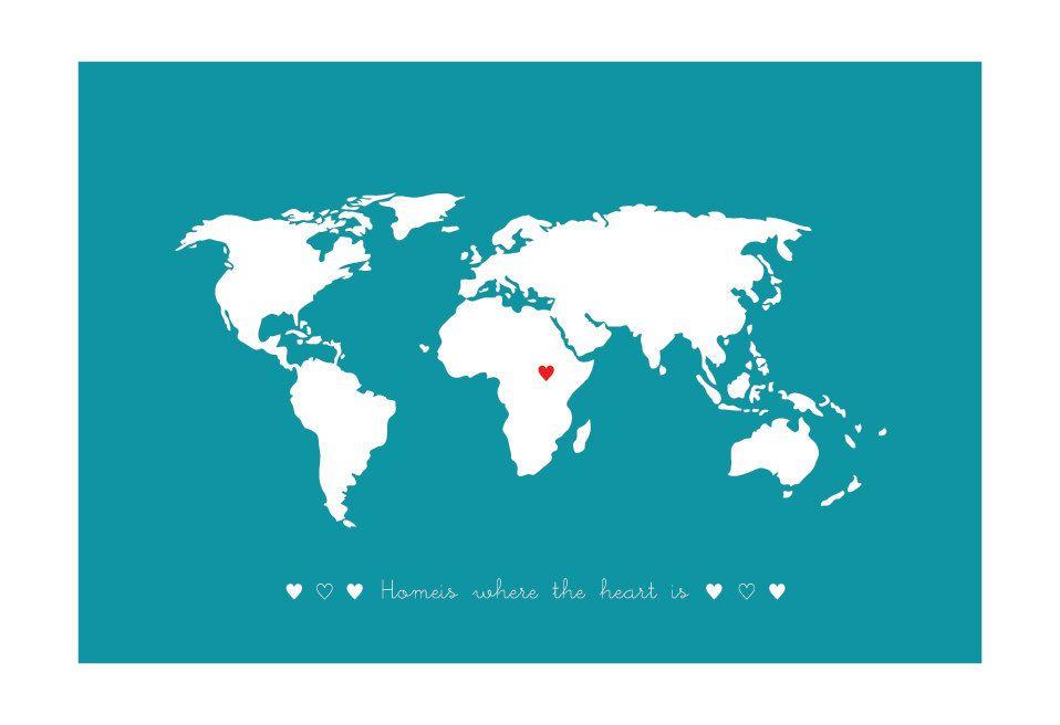 World Map wall art, Art print, Personalized world map,Custom World