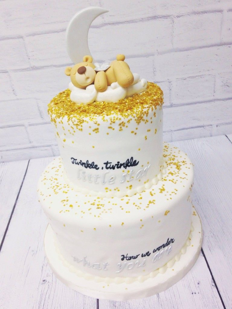 Twinkle Little Star Shower Cake With Images Moon Baby Shower