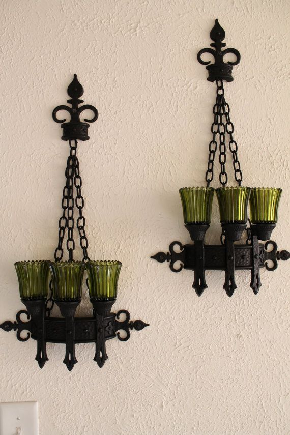 Candle Holder Vintage Set Glass Pillar Wall Victorian Decor Gothic