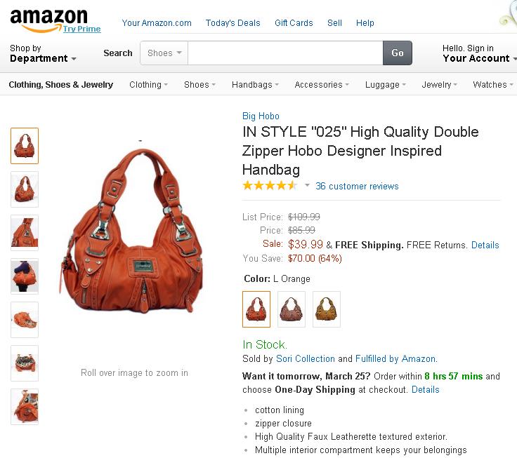 """IN STYLE """"025"""" High Quality Double Zipper Hobo Designer Inspired Handbag"""