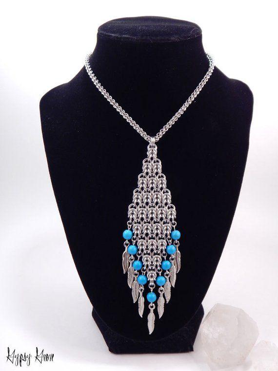 Long Western Flair Byzantine Diamond Chainmaille N