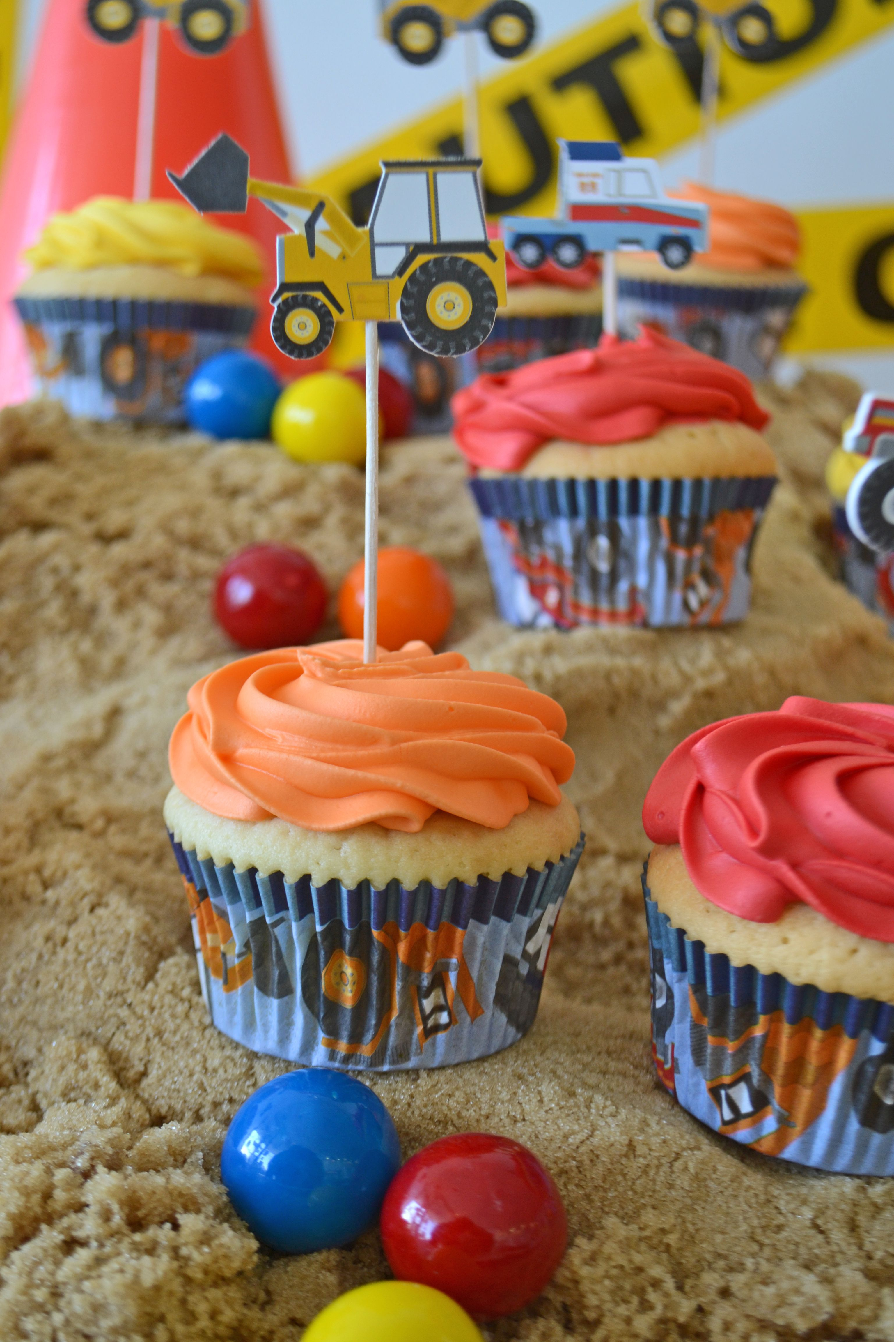 Bulldozer cupcakes by Bake Sale.