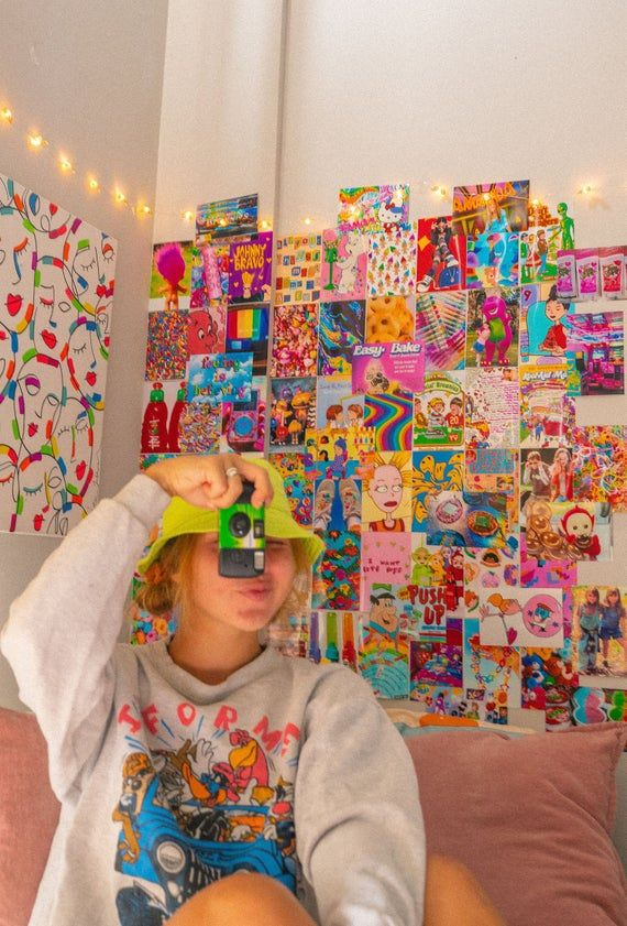 Kidcore Aesthetic Wall Collage Kit, Indie Room Dec