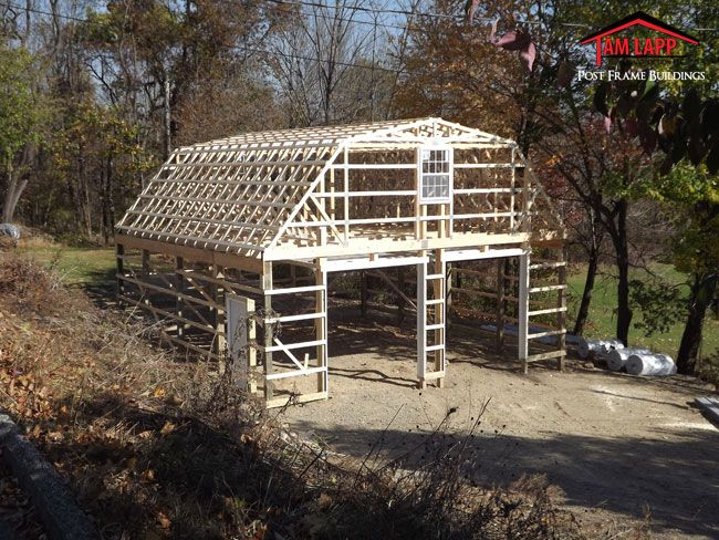 30 39 w x 32 39 l x 10 39 h residential polebarn building in for Gambrel roof pole barn kits
