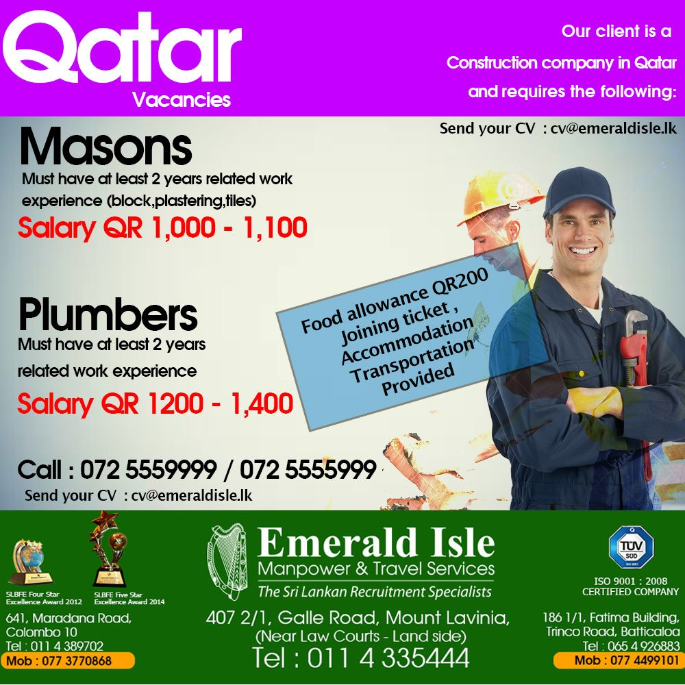 Pin By Emerald Isle Manpower Travel On Foreign Vacancies Qatar Work Experience Construction Company Plumber