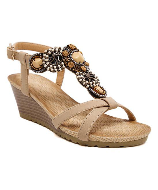 51aaa9782 Beige Rhinestone-Embellished Wedge Leather Sandal