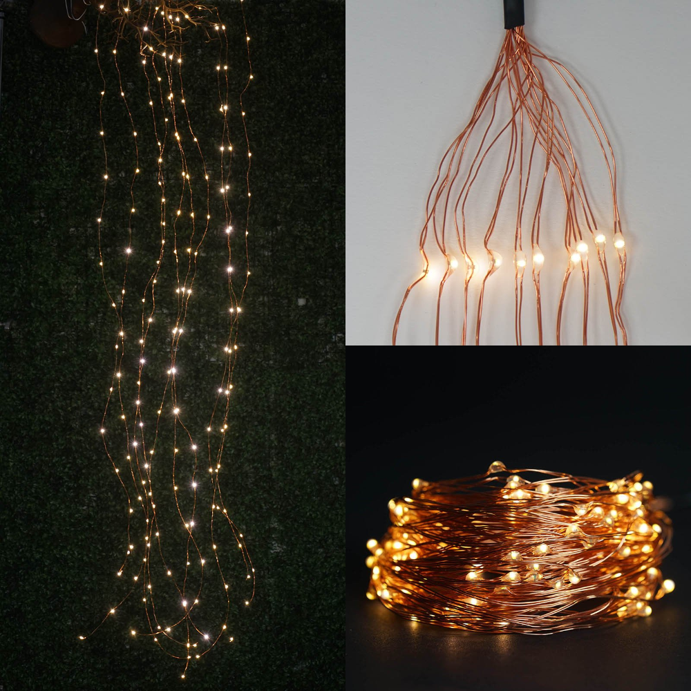 8ft 200 Led Waterfall Lights 10 Strands Copper Spray Strands Waterproof Battery Operated Fairy Lights Warm White In 2020 Waterfall Lights Fairy Lights Copper Spray