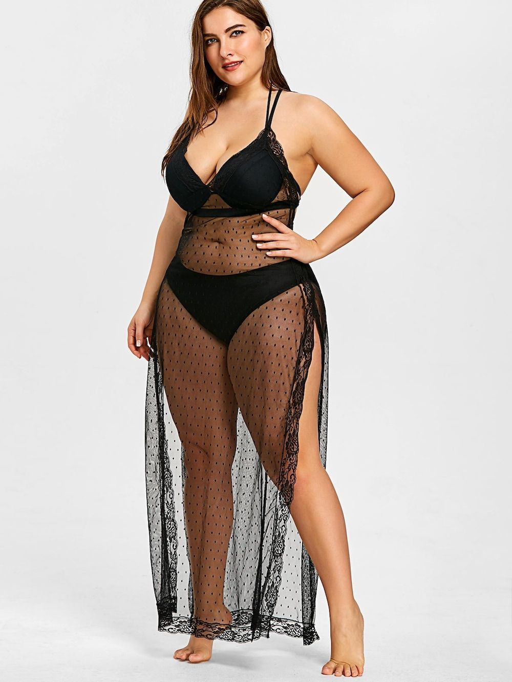 7c9b4c60bae Plus Size Sheer Slit Long Cover Up - BLACK XL