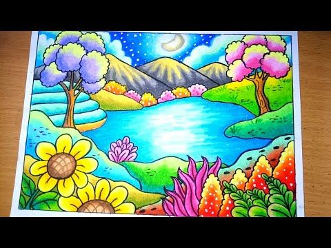 How To Draw Scenery Of Spring Season Menggambar Pemandangan