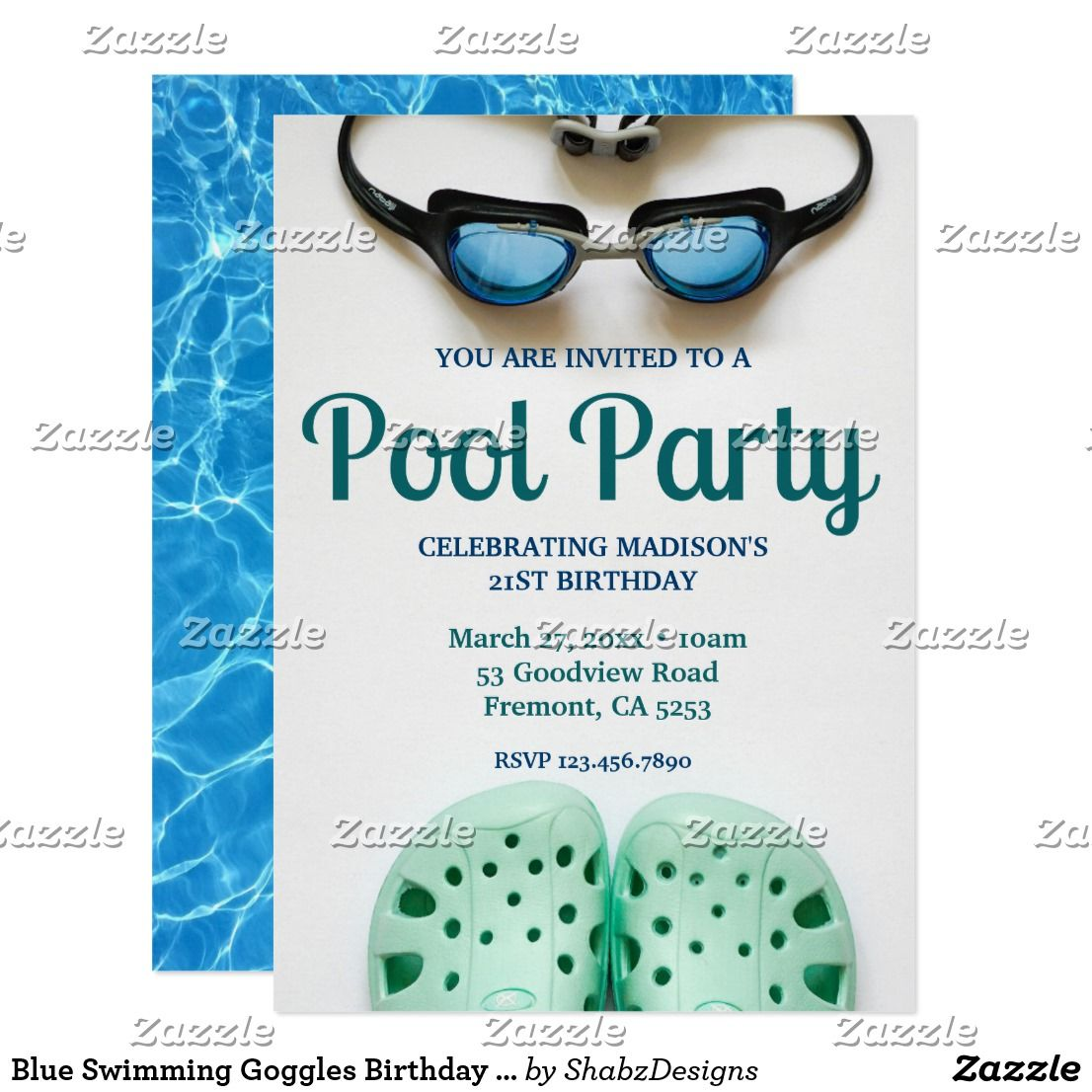 Blue Swimming Goggles Birthday Pool Party Invitation | { Happy ...