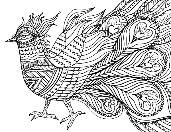 Coloring Pages For Adults Abstract Pdf : Free printable abstract bird adult coloring page download