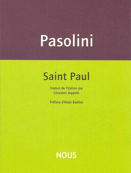 Pasolini - Saint Paul Editions nous