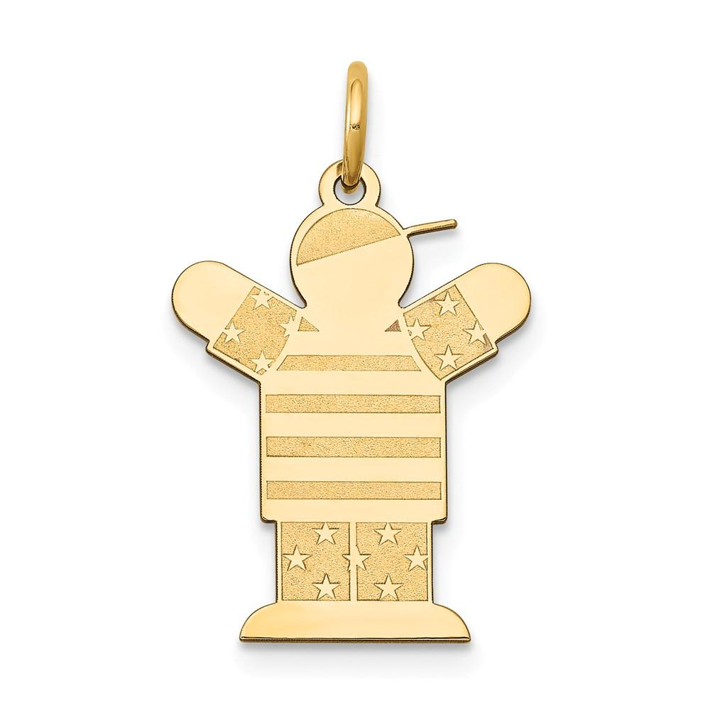 14k Yellow Gold Solid Polished Laser Etched Not engraveable Kid Charm