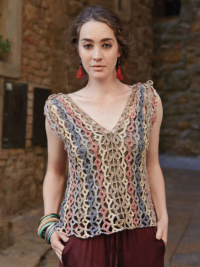 Cetona - Crochet this womans openwork sleeveless top from Rowan Knitting & Crochet Magazine 57, a design by Lisa Richardson using Revive (silk cotton and viscose) and Pure Linen (100% Linen) with a v-neck and multi coloured stripes. This crochet pattern has a two star difficulty rating.