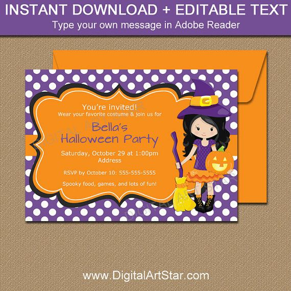 Girl Halloween Invitation Template Printable Party