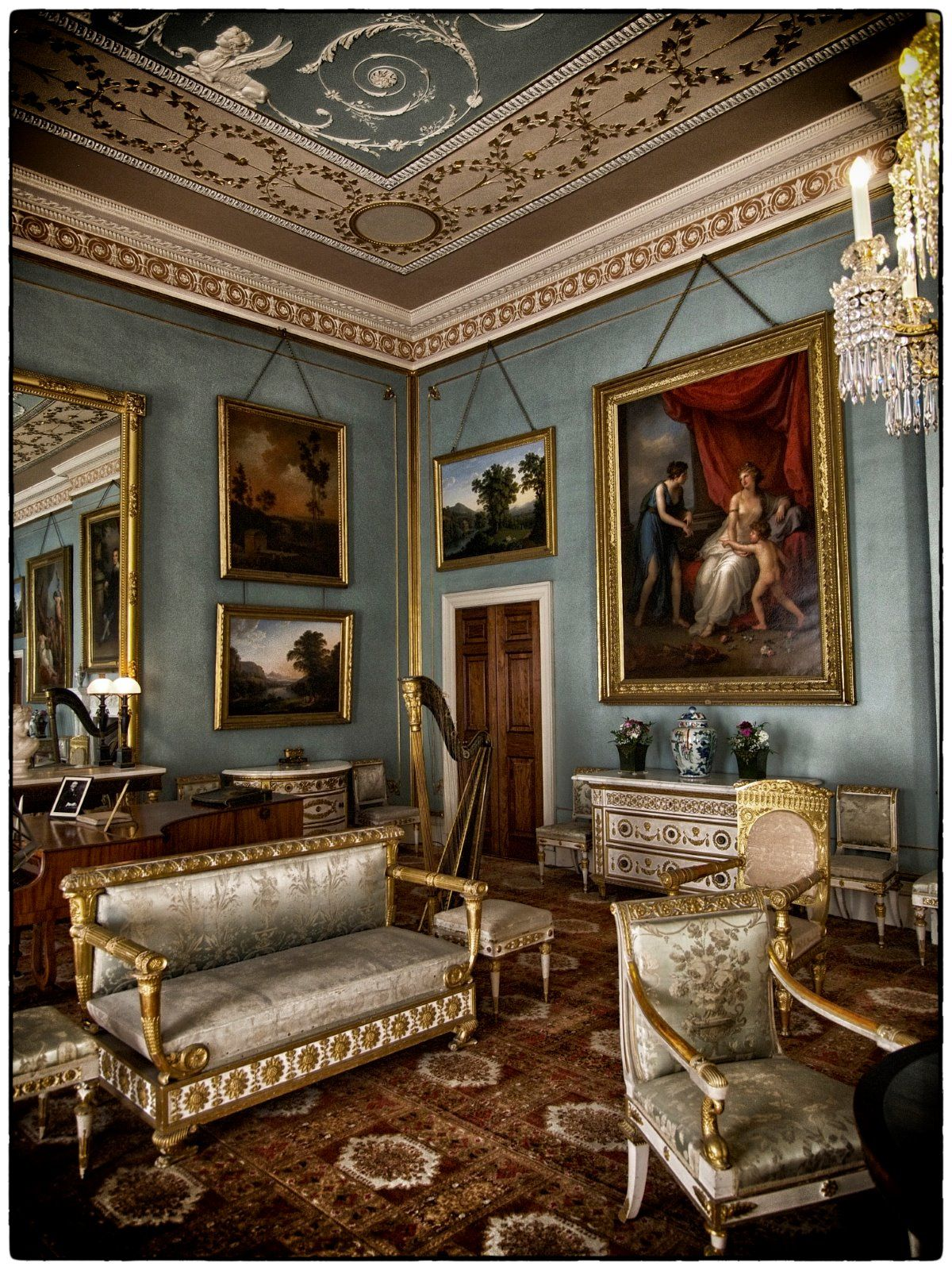 Inside House Drawing: Drawing Room, Classic Interior, English