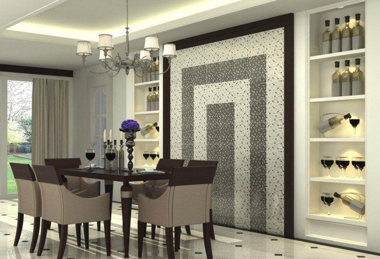 salle manger deco murale originale mosaique noir blanc - Decoration Murale Salle A Manger