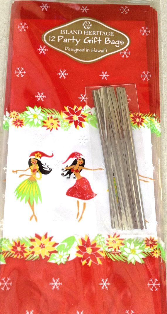 Christmas Hula Girl Treat Bags Set of 12 with ties Christmas