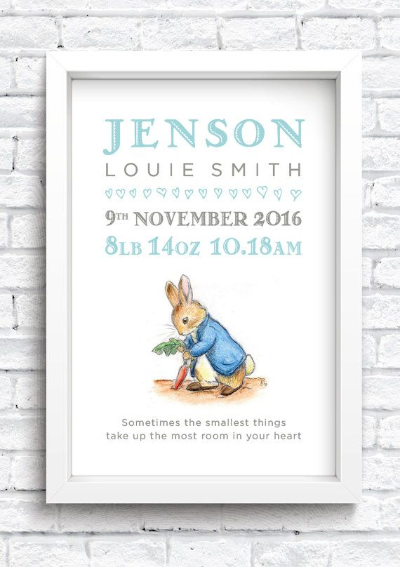 Peter Rabbit Flopsy Girl Baby Child Birth Announcement Frame Gift Personalised