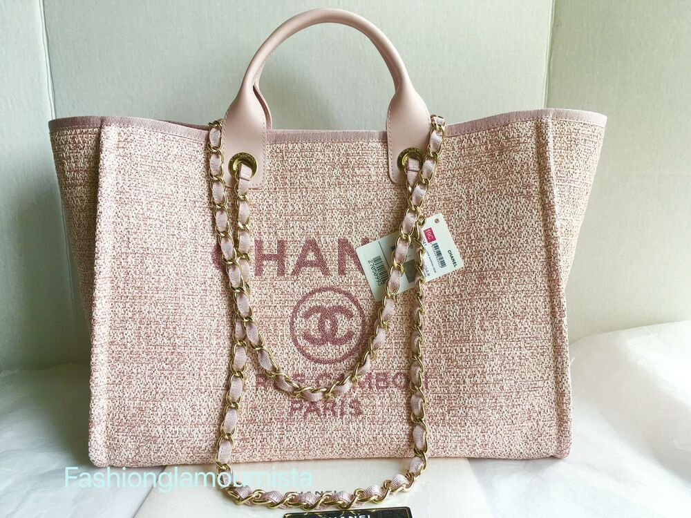 0d17fb5c27a6 Auth BNIB Chanel Classic Deauville Large Pink Shopper Tote Bag Cruise 2019