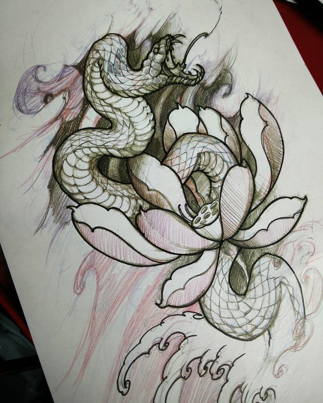Snake sketch in progress chronicink tattoo asiantattoo illustration snake irezumi - Dessin dragon japonais ...