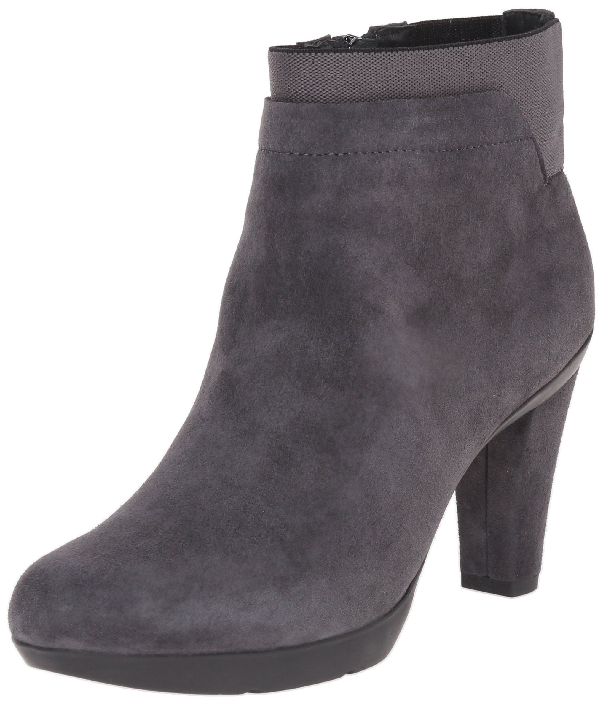 Geox Women's Inspriation Suede Bootie Boot, Anthracite, 41 EU/10.5 M US. Compact ankle boot with layered shaft and tonal block heel. Side zip entry.