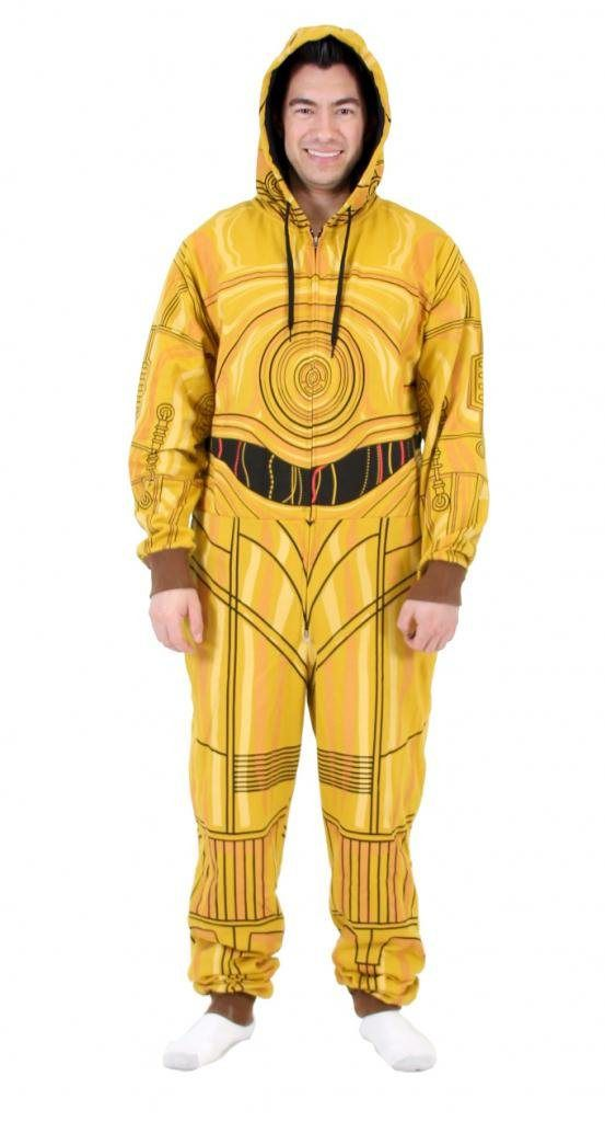 3b483e54e4 Star Wars Men s C3Po Suit Jumpsuits Onesie Pajamas Cosplay Hooded ...