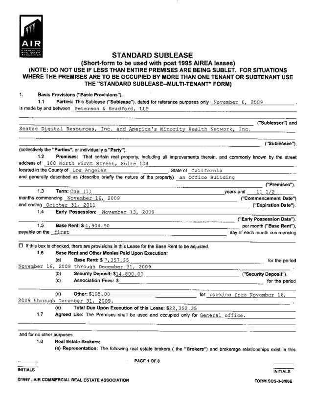 Printable Sample Sublease Agreement Form Form Sample Template - business separation agreement template