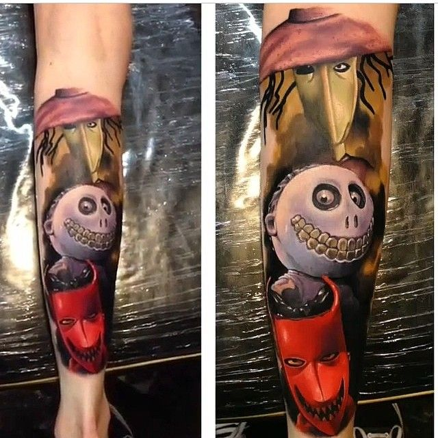 Nightmare Before Christmas Lock Shock And Barrel Tattoo By Artist