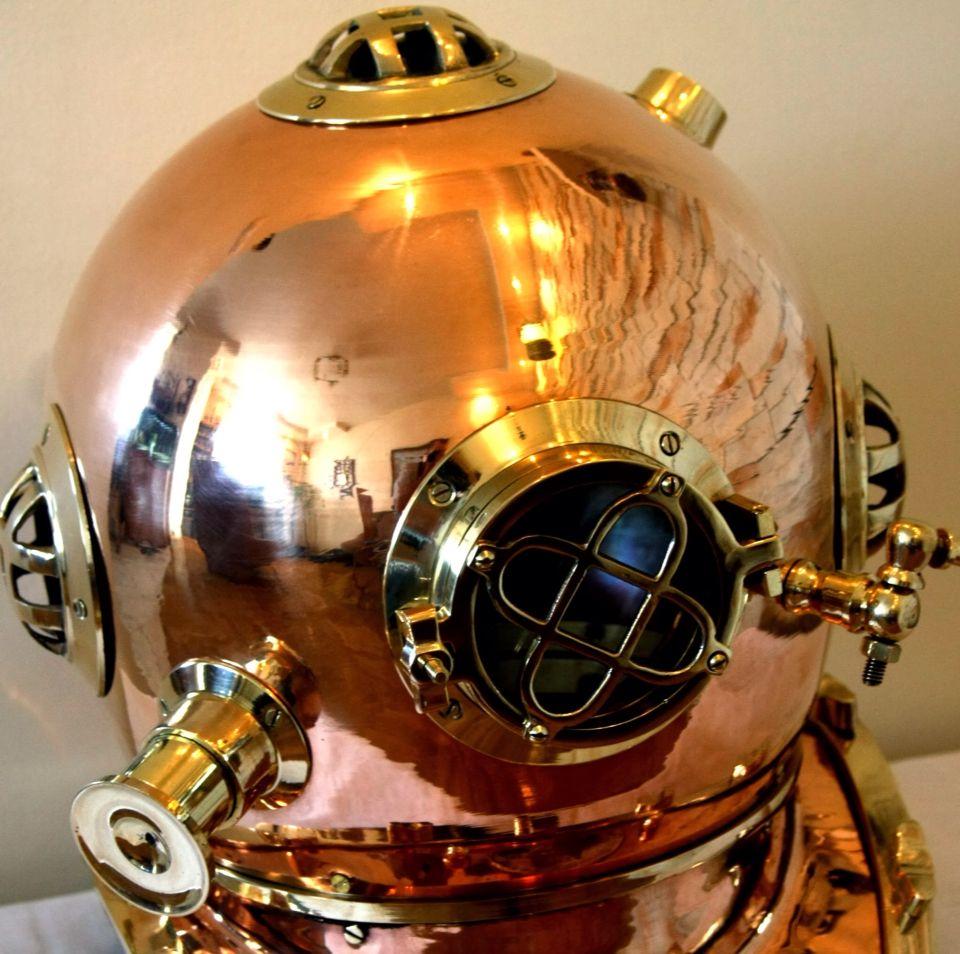 Wielki Stylowy Helm Nurka Mark V Mosiezny Helm Pierwszych Nurkow