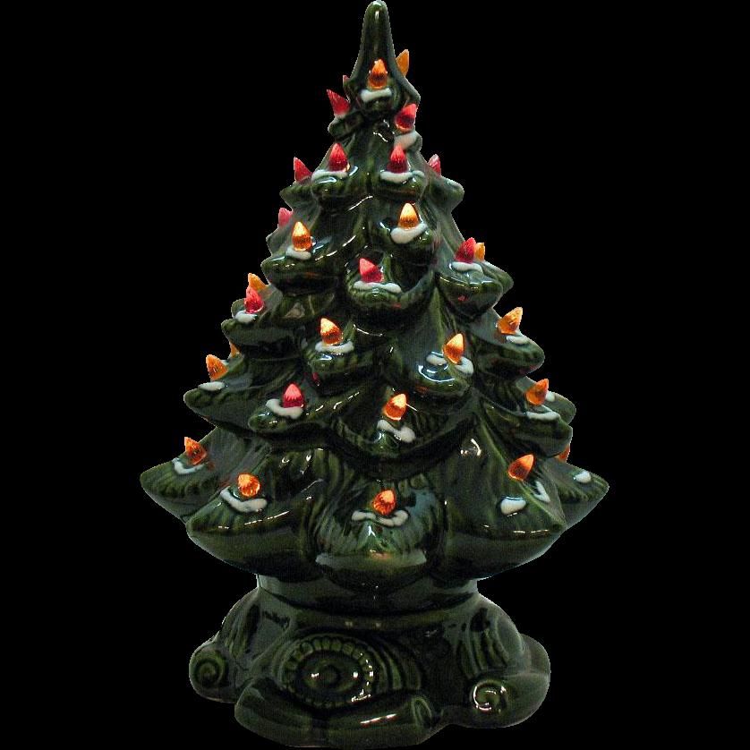 Small Vintage Ceramic Christmas Tree Light up Base Faux Plastic ...