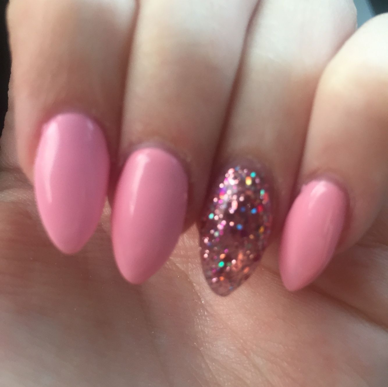 Pink Almond Nails With Pink Glitter Accent Nail Acrylic Nails