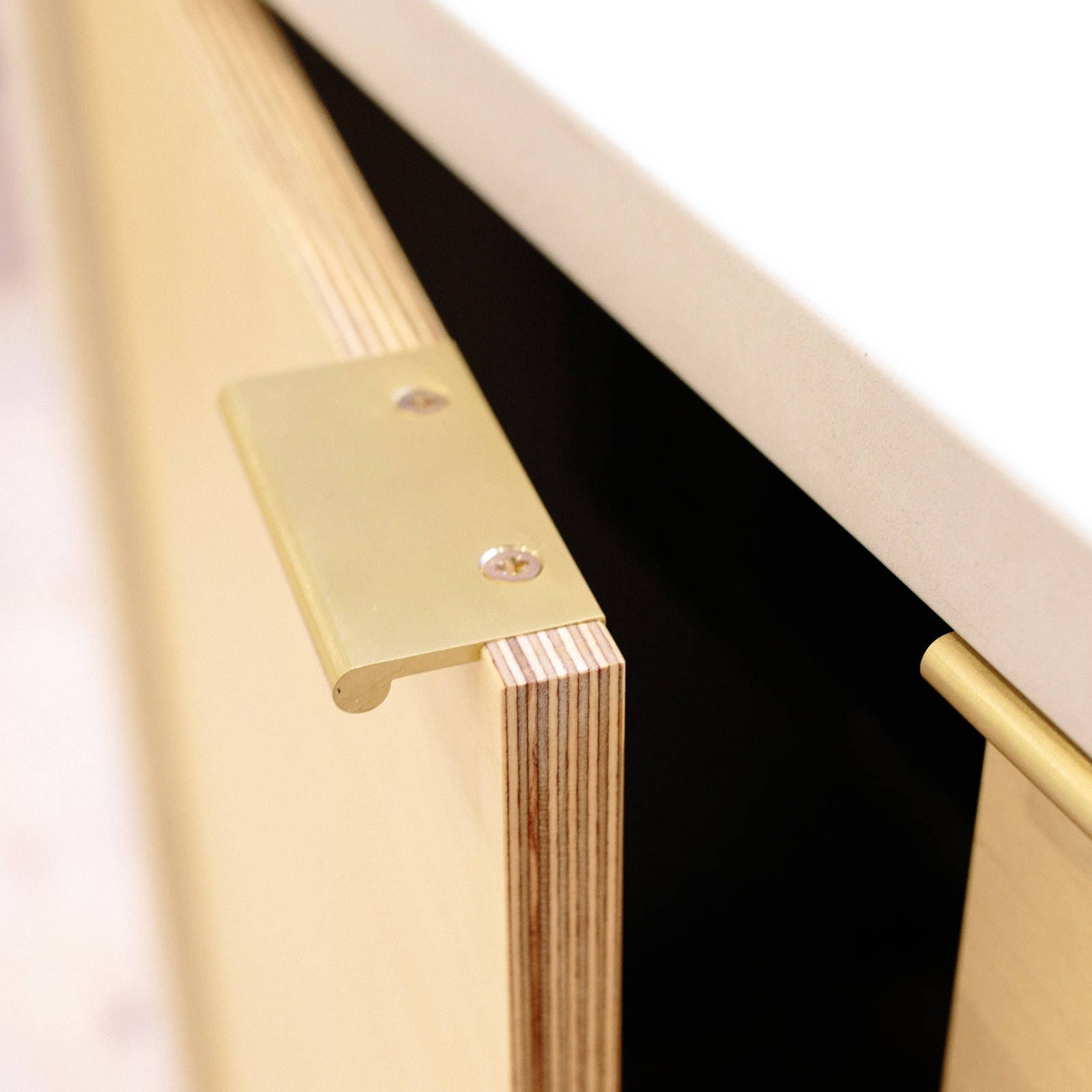 Plywood Kitchen Cabinet Door With Laquered Brass Pull Handle Plywood Kitchen Kitchen Handles Door Handle Design
