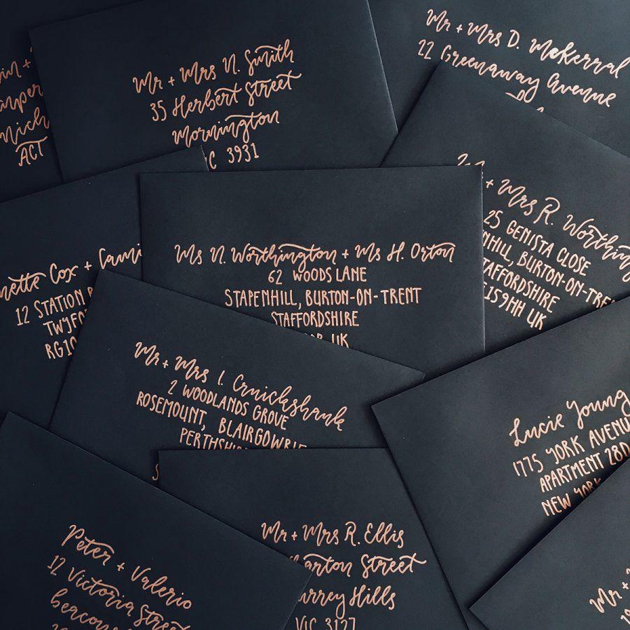 Hand lettered wedding invitation envelopes by paige tuzee wedding hand lettered wedding invitation envelopes by paige tuzee stopboris Choice Image