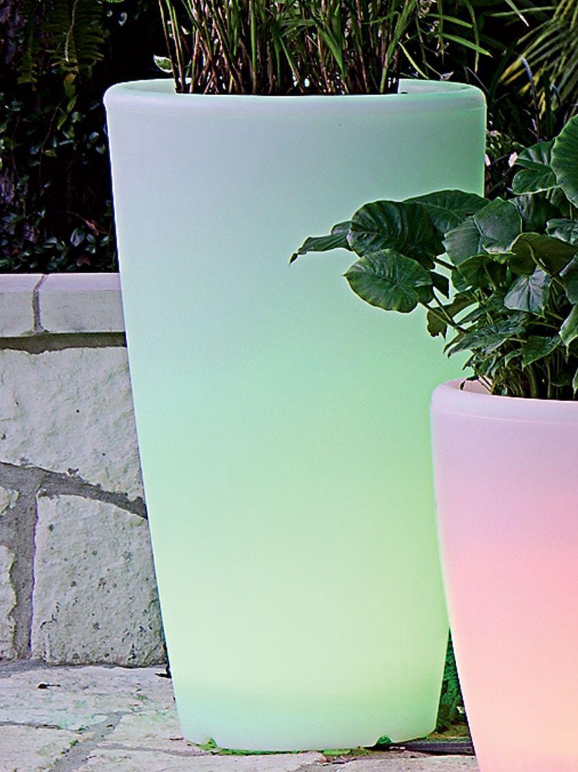 Solar Illuminated Planter Tall Tall Planters Solar Lights Garden Planters