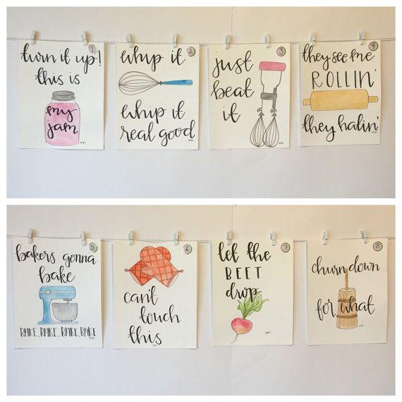 Set Of Four Watercolor Kitchen Puns Please Read Item Description