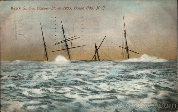 Wreck Sindia, October Storm 1903 Ocean City New Jersey