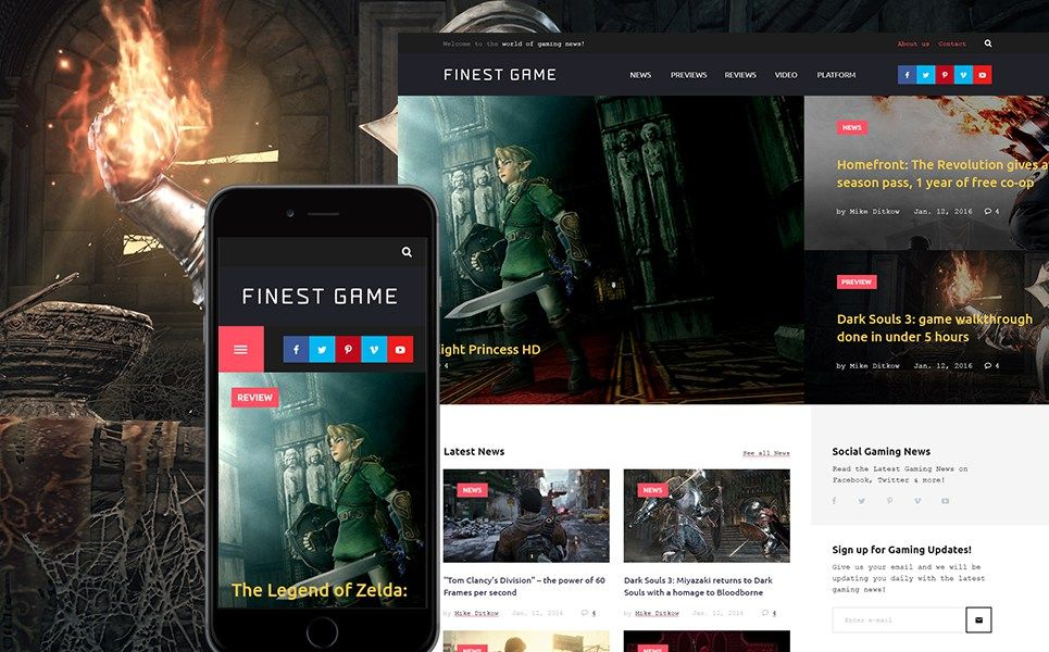 Video Games & Gaming Blog WordPress Themes - Game Portal (website ...