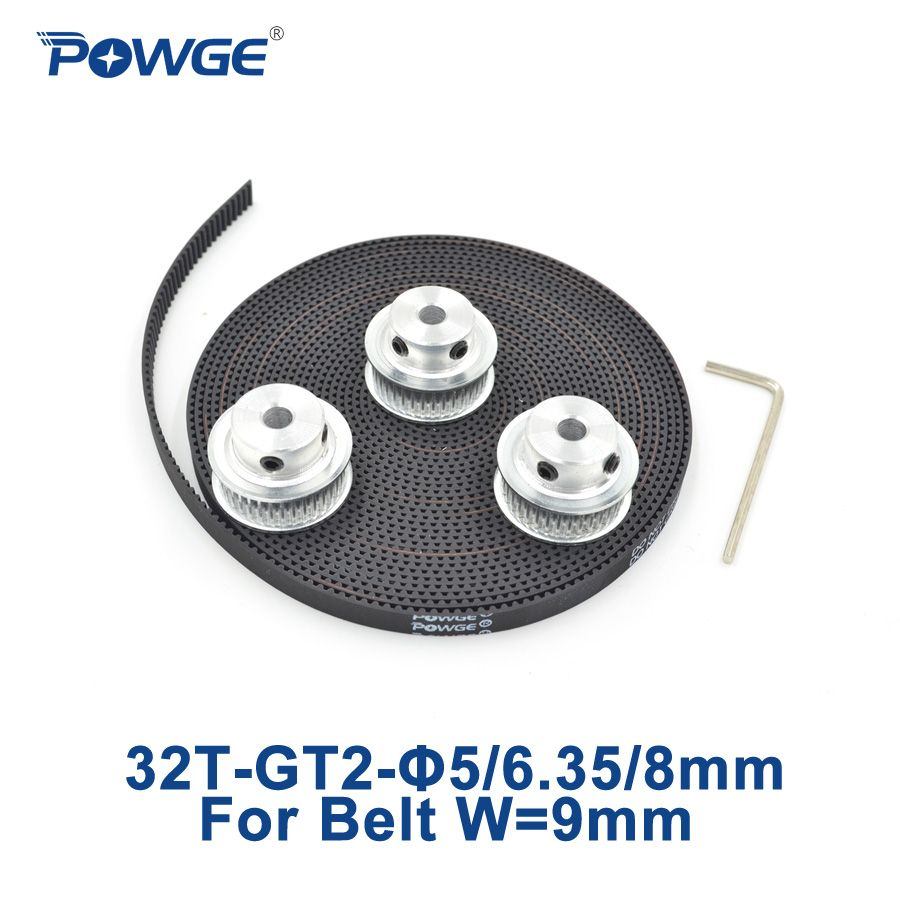 POWGE 3pcs 32 teeth GT2 Synchronous Pulley Bore 5mm 6.35mm 8mm + ...
