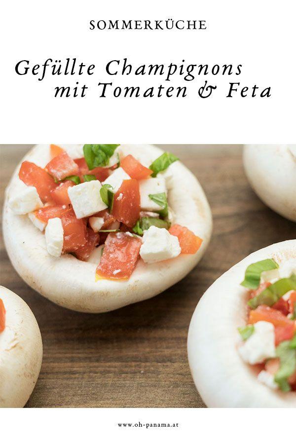 Sommerküche: Gefüllte Champignons mit Schafskäse und Tomaten ...
